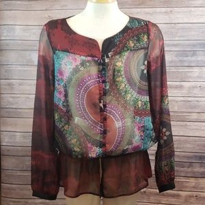 DESIGUAL Long Sleeve Sheer Button Front Top size M